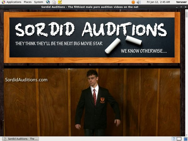 Sordid Auditions Username Password